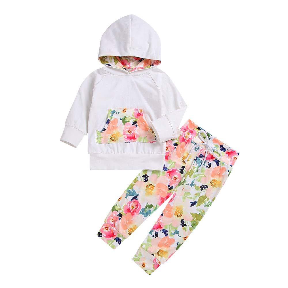 H.eternal Pullover Hooded Crew Neck Sweatshirt Top Pockets +Floral Pants Tracksuit Baby Outfits Set Long Sleeve Sweatsuit Kid Joggings Suit