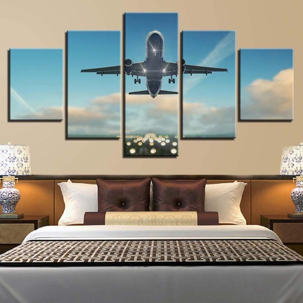 adgkitb canvas Creativo Cinco Piezas Paisaje Aeronaves Lienzo ...