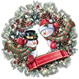 Thomas Kinkade Light Up Holiday Wreath With Sculpted Snowmen by The Bradford Exchange