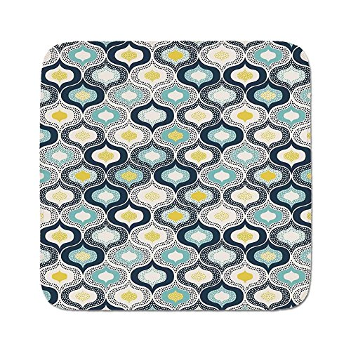 Dot Modern Rug - Cozy Seat Protector Pads Cushion Area Rug,Modern Decor,Geometric Morrocan Mediterrain Style Dots with Ornamental Details Image,Blue and White,Easy to Use on Any Surface