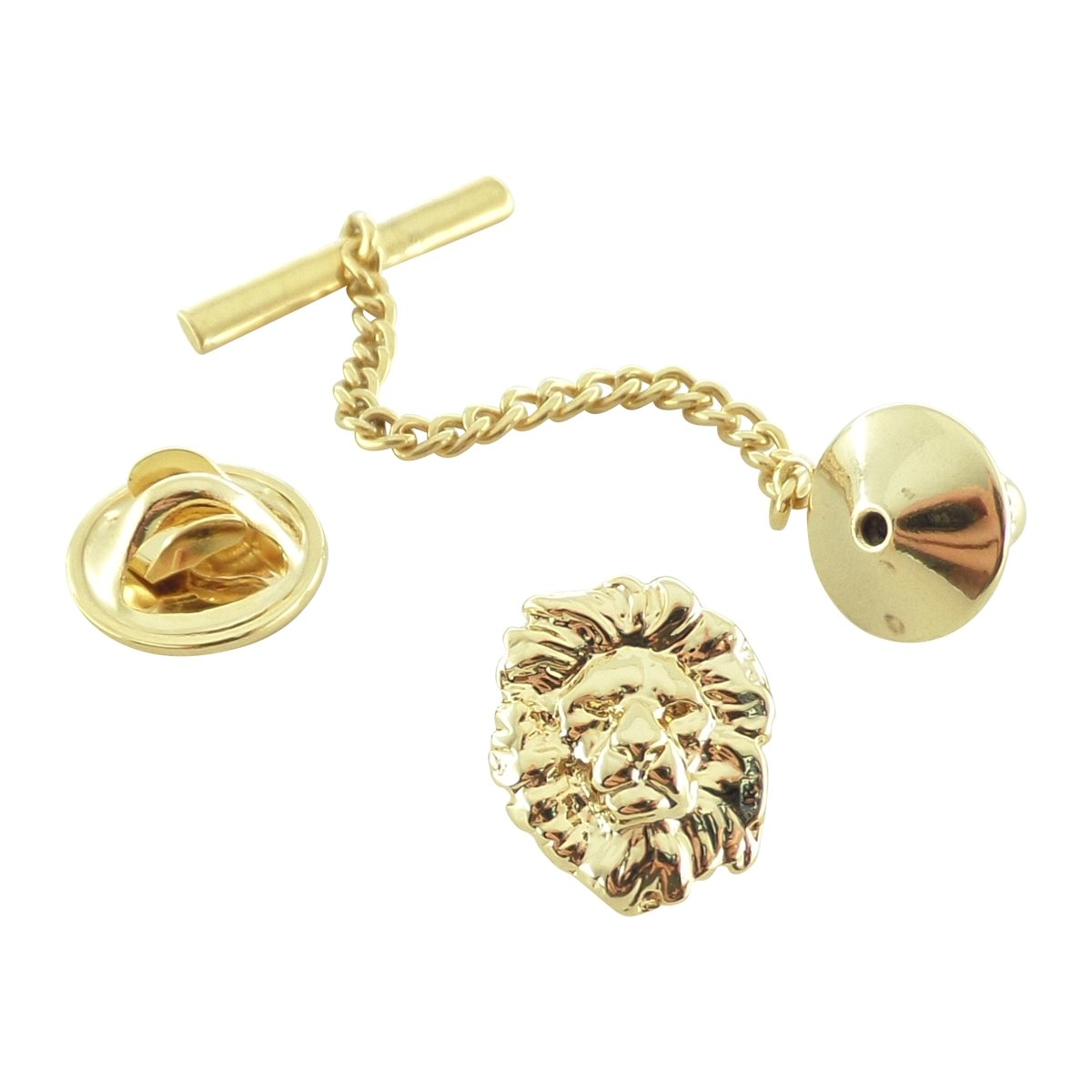 Creative Pewter Designs, Pewter Lion Head Tie Tack, Gold Plated, MG102TT