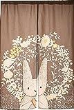 Japanese Noren Doorway Curtain Tapestry Cat Story (Bunny Love)