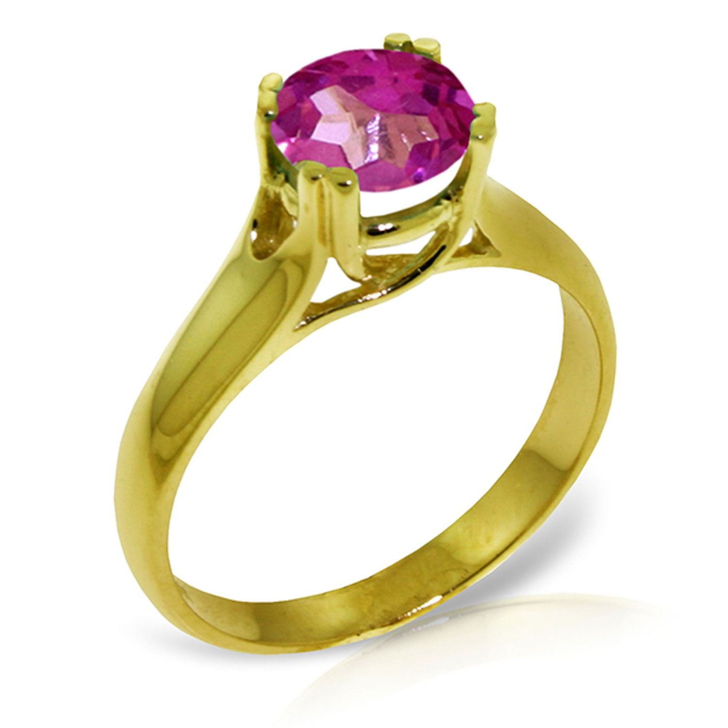 ALARRI 1.1 Carat 14K Solid Gold Love Doesn't Outgrow Pink Topaz Ring With Ring Size 9.5 by ALARRI (Image #1)