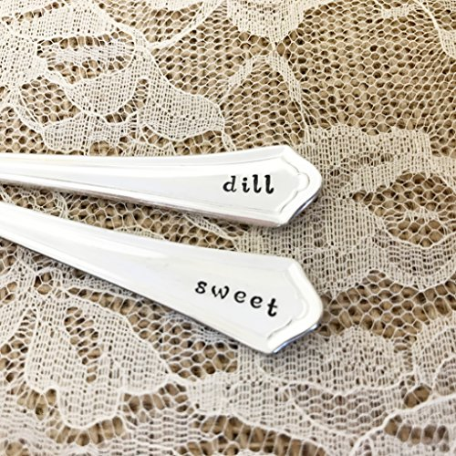 Set of 2: sweet and dill, appetizer pickle forks, vintage silverplated mini by Lorelei Vella, oneida