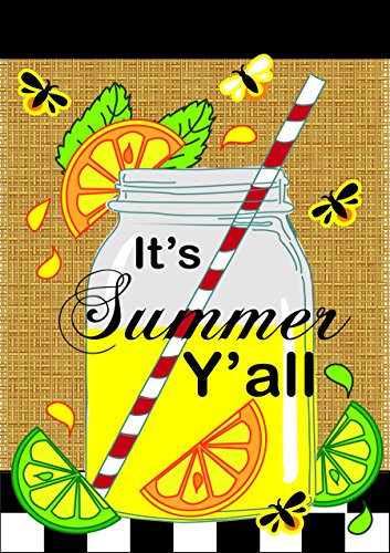 Its Summer Yall Mason Jar Lemonade 42 x 29 Rectangular Burlap Double Applique Large House Flag