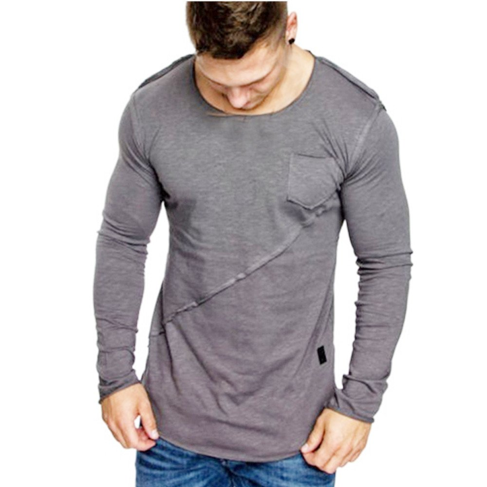 Men Tops Hot WEUIE Men Long-Sleeve Beefy Muscle Button Basic Solid Pure Color Blouse Tee Shirt Top (M,Gray)
