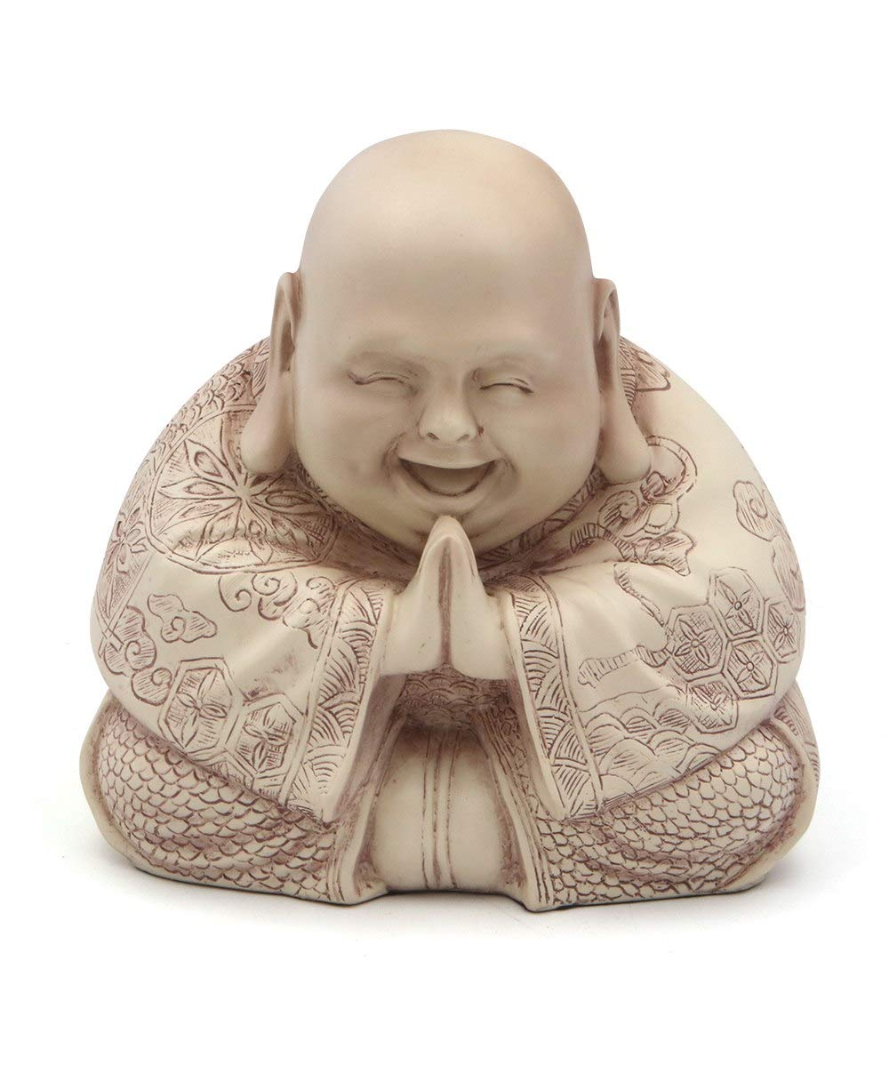 Majestic Praying Happy Buddha Statue Stone