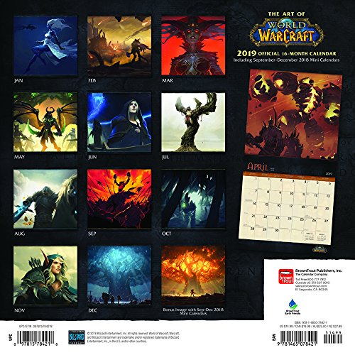 World-of-Warcraft-2019-12-x-12-Inch-Monthly-Square-Wall-Calendar-Video-Game-Blizzard-Entertainment-WoW