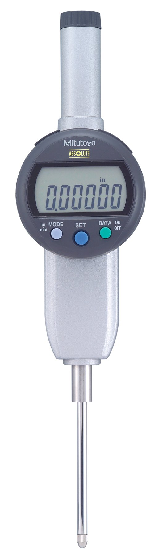 Mitutoyo 543-492B, IDC Digimatic Indicator, .00005''/.0001''/.0005''/0.001mm/0.01mm X 2'', 3/8'' Stem, Flat Back