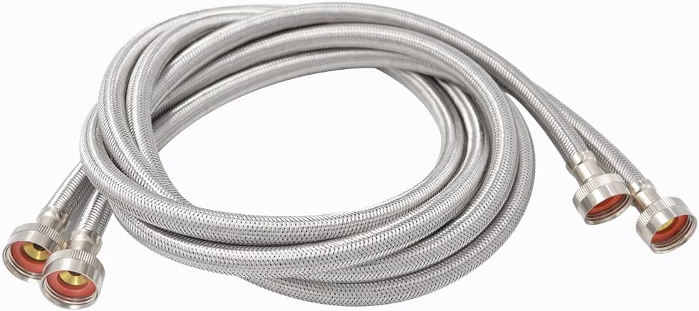 "TT FLEX UPC Approved Flexible Stainless Steel Braided Washing Machine Inlet Hose 3/4""FHT3/4""FHT,6FT"