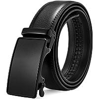 BOSTANTEN Men's Leather Ratchet Dress Belt with Automatic Sliding Buckle Black Gifts for men