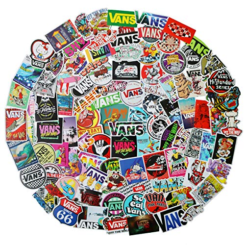 Logo Van - 100 Pack Fashion Logo Brand Stickers Set Vans Sticker Decals for Water Bottle Laptop Cellphone Bicycle Motorcycle Car Bumper Luggage Travel Case. Etc (Vans Logo)