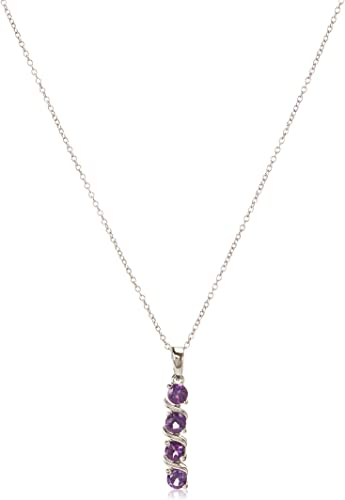Amethyst Beads Rounds 8 Inch Hanging Length Gifts for Women Gemstone Necklace Sterling Silver 19 Grams .925 Necklace