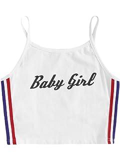 c433364c48a SweatyRocks Women's Sexy Strappy Sleeveless Letter Print Striped Side Crop Cami  Tank Tops