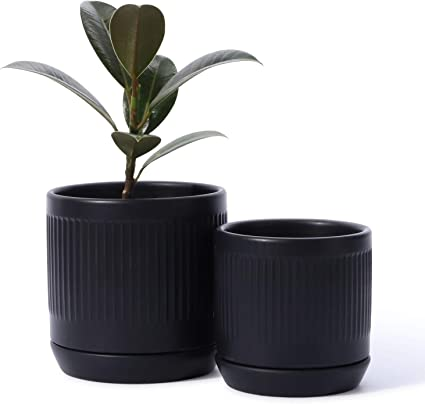Amazon Com Potey 053204 Ceramic Planter Pots Glazed Modern Planters Flower Pot Indoor Bonsai Container With Drainage Holes Saucer For Plants Aloe Set Of 2 5 1 4 2 Inch Matte Black Plants