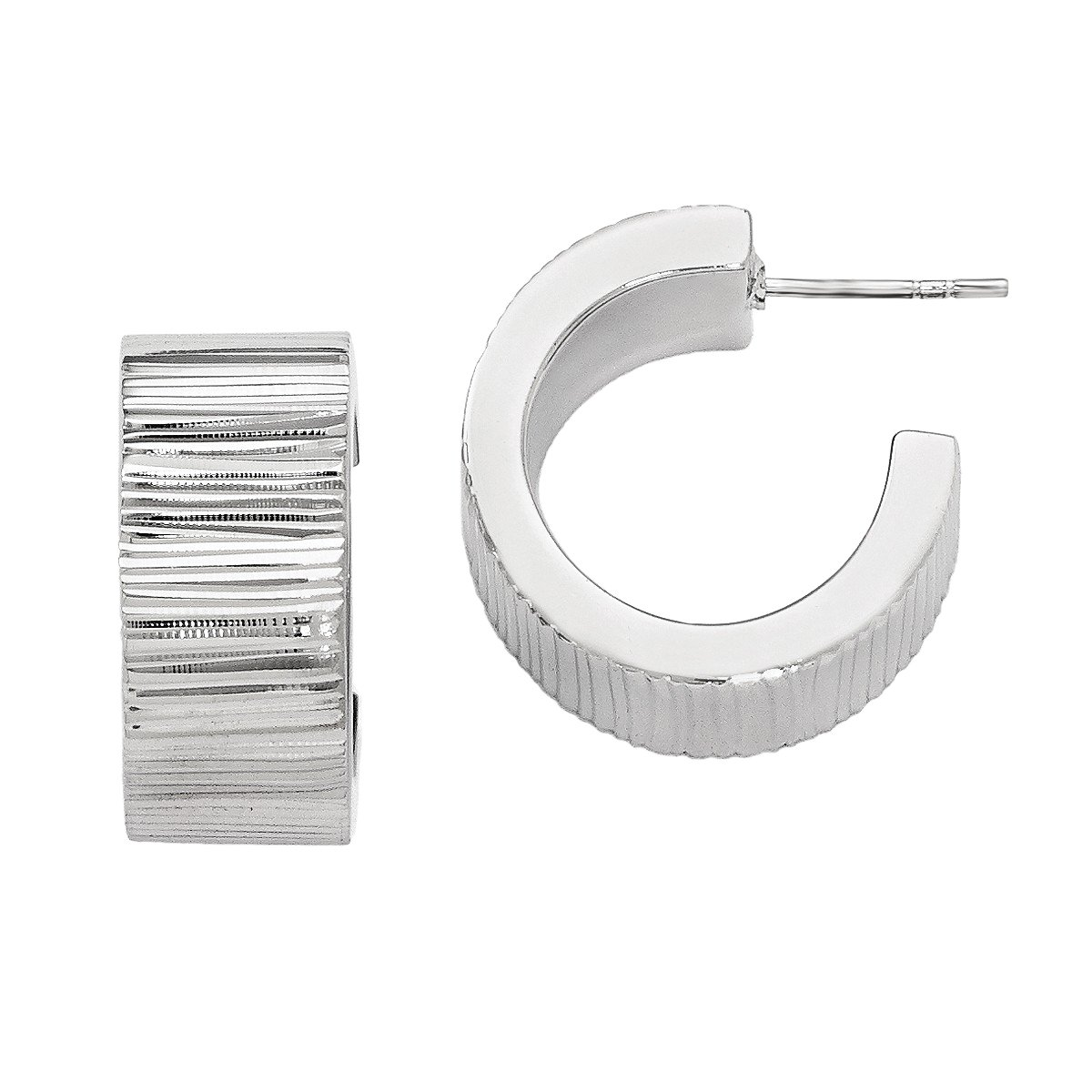 Leslie's Polished 925 Silver Radiant Essence Textured Italian 3/4 Hoop Post Earrings, Sizes Vary