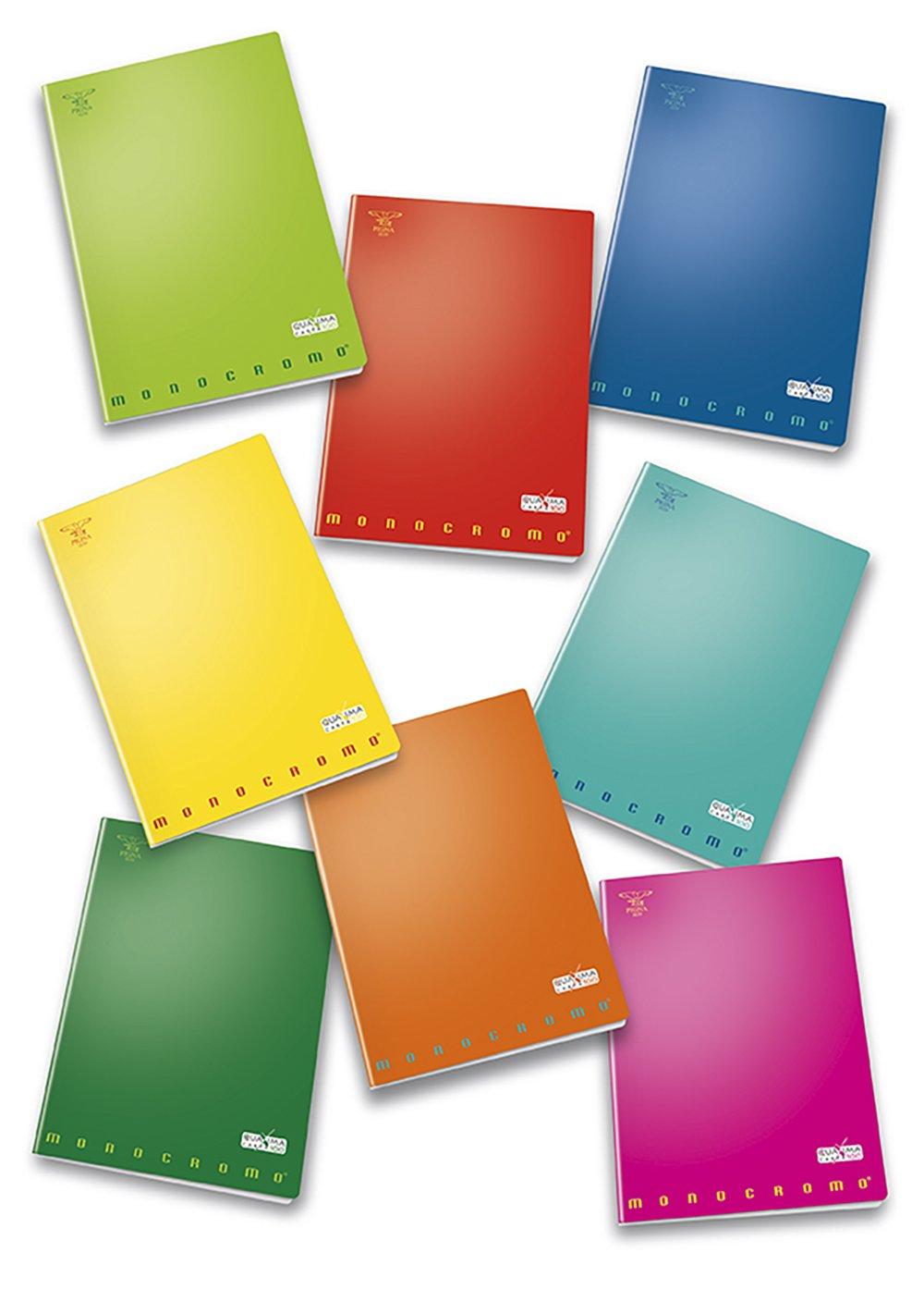 Pigna Monocromo 02217805M, Quaderno formato A4, Rigatura 5M, quadretti 5 mm per 2° e 3° elementare, Carta 100g/mq, Pacco da 10 Pezzi