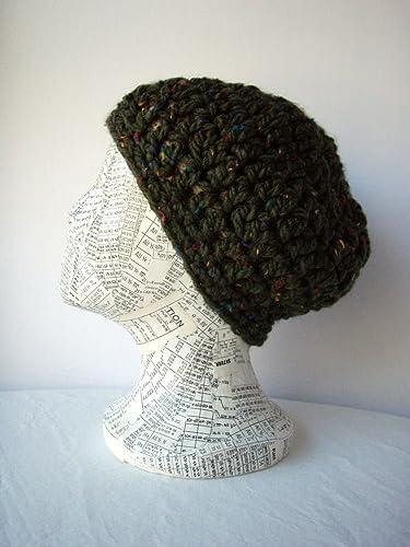 Amazoncom Green Tweedy Skullcap Size Medium Chunky Crochet Hat