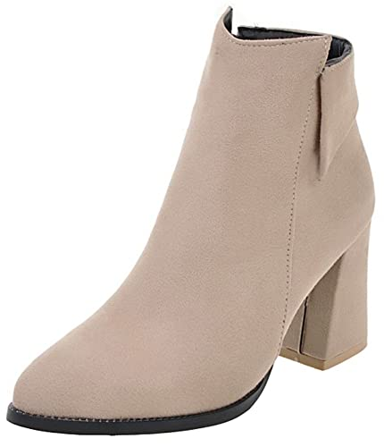 Women's Chic Faux Suede Side Zipper Ankle Booties Pointed Toe High Chunky Heel Short Boots