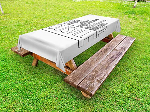 Lunarable Kentucky Outdoor Tablecloth, Minimalist Buildings of Louisville City Greyscale Typographic Illustration, Decorative Washable Picnic Table Cloth, 58