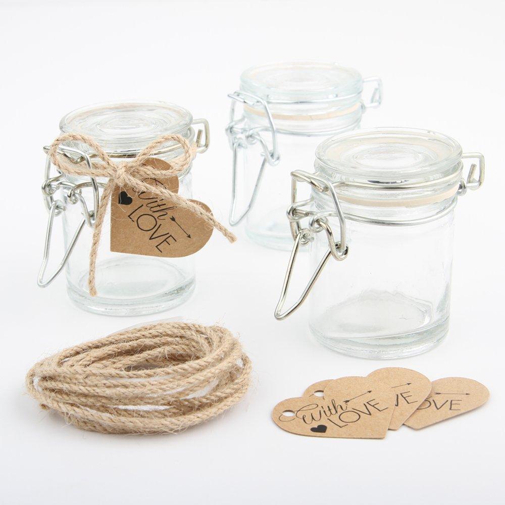 Amazon.com: Ivy Lane Design 9 Count Mini Glass Jelly Jar Favor Kit ...