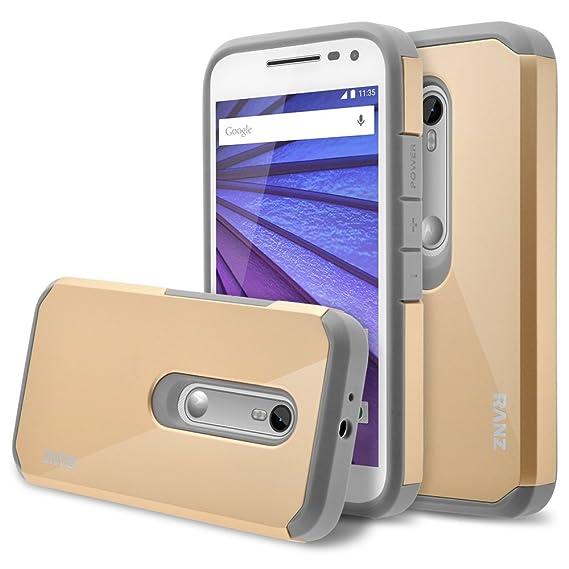 new arrival b63d7 76af8 Moto G 3rd Gen, Moto G3 Case, RANZ Grey with Gold Hard Impact Dual Layer  Shockproof Bumper Case for Motorola Moto G (Gen 3)/ Motorola Moto G3