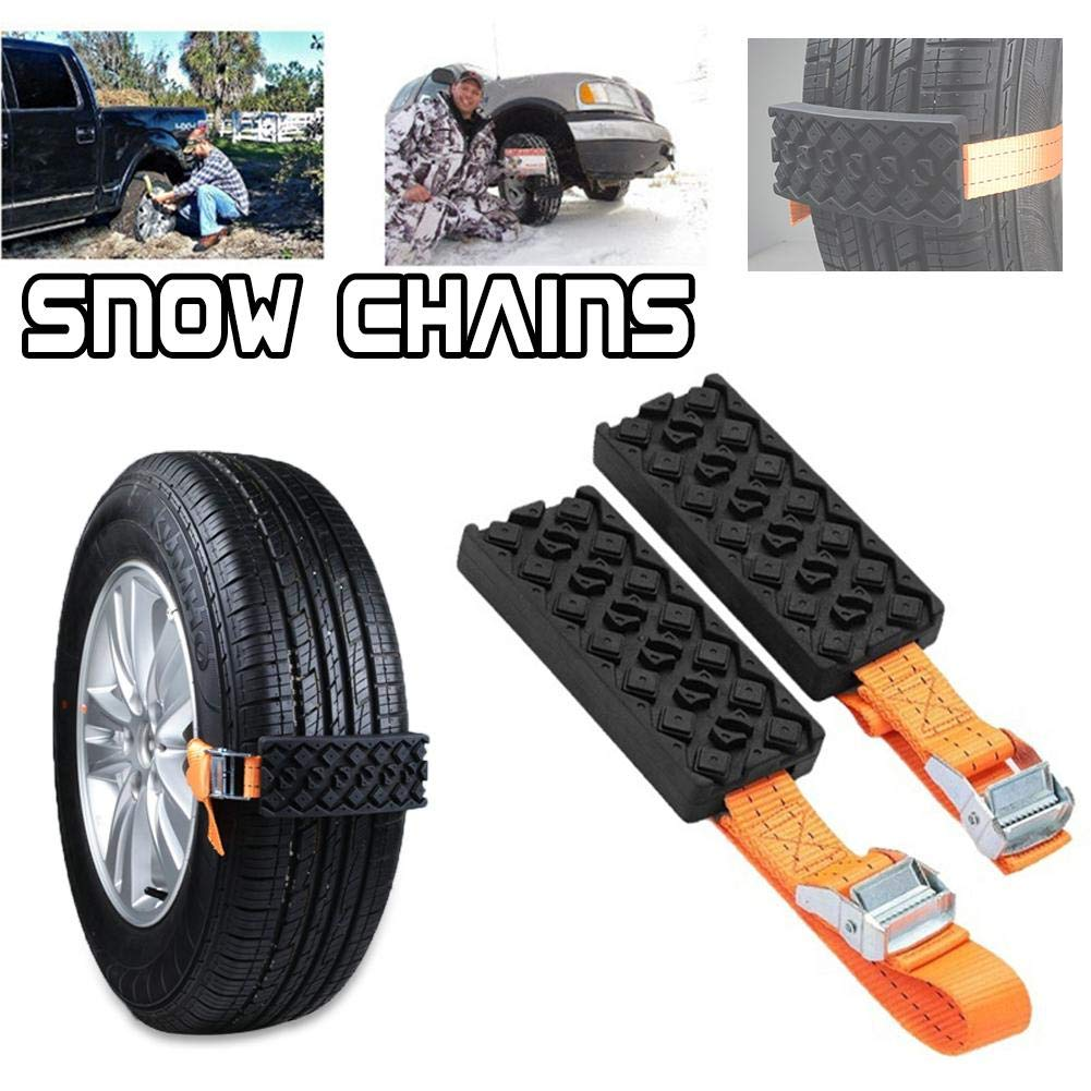 Easy Install Blocks Strap to Your Vehicle Tires Set of 2 A Chain//Snow Tire Alternative That Helps You Get Unstuck Mud and Sand Tire Traction Device for Cars and Small SUVs