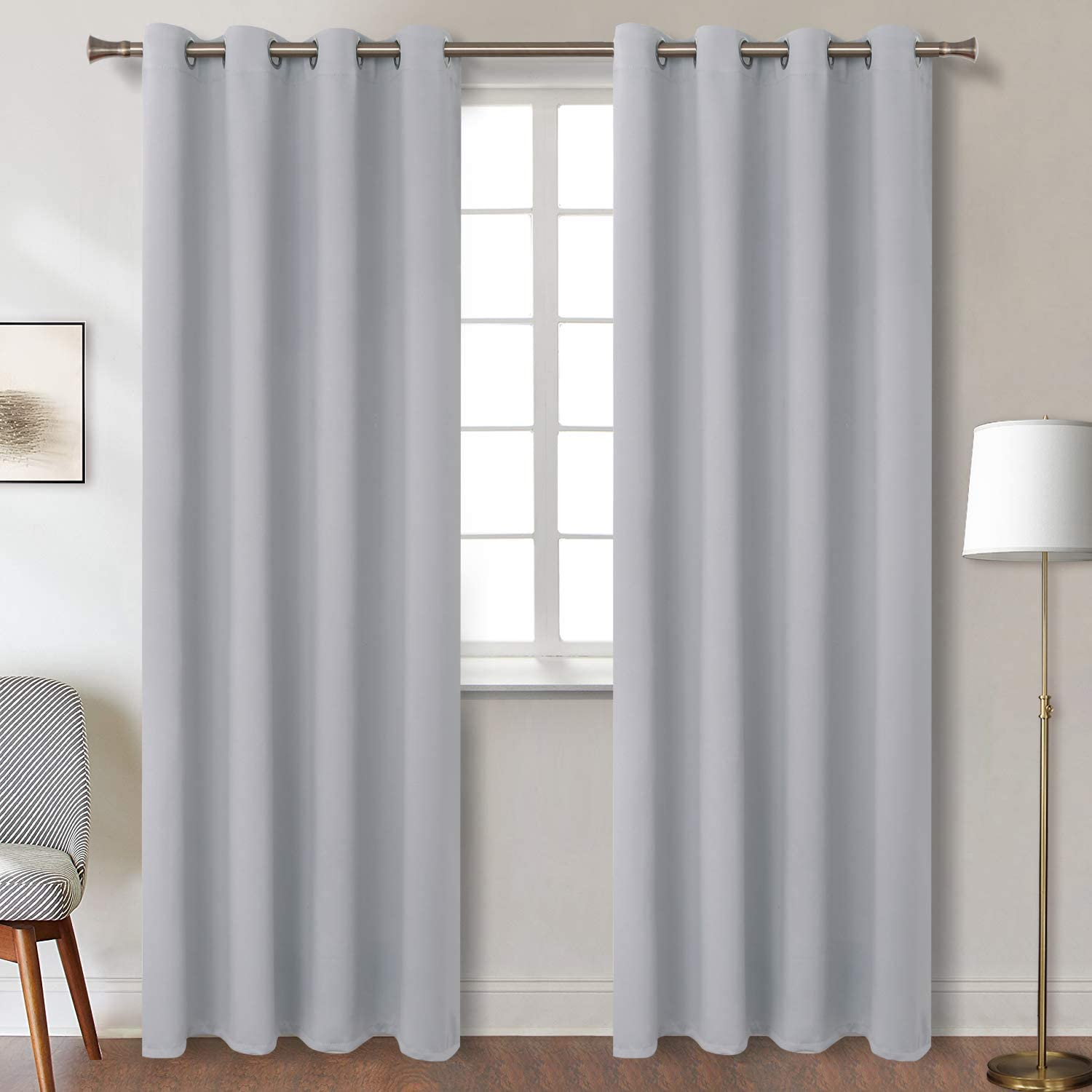 BGment Blackout Curtains for Bedroom - Grommet Thermal Insulated Room Darkening Curtains for Living Room, Set of 2 Panels (52 x 95 Inch, Light Grey)