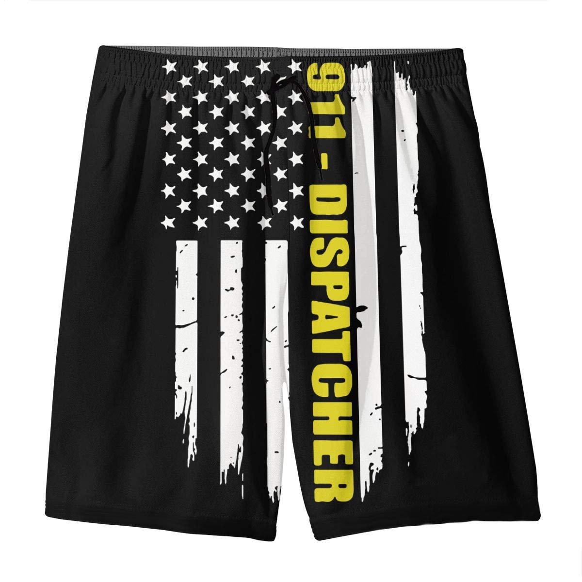 OPQRSTQ-O 911 Dispatcher Gift Thin Gold Line Flag Teenager Mens Sports Beachwear Swimming Shorts Beach Pants