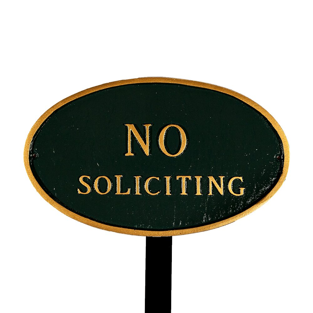 Montague Metal Products SP-11sm-HGG-LS Small Hunter Green and Gold No Soliciting Oval Statement Plaque with 23-Inch Lawn Stake