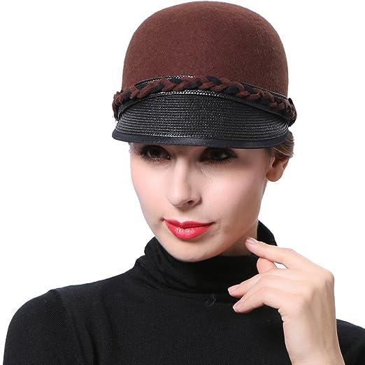 June s Young Women Hats Wool Felt Hats Brown Color Winter Caps at ... 3d5e78f2bc3