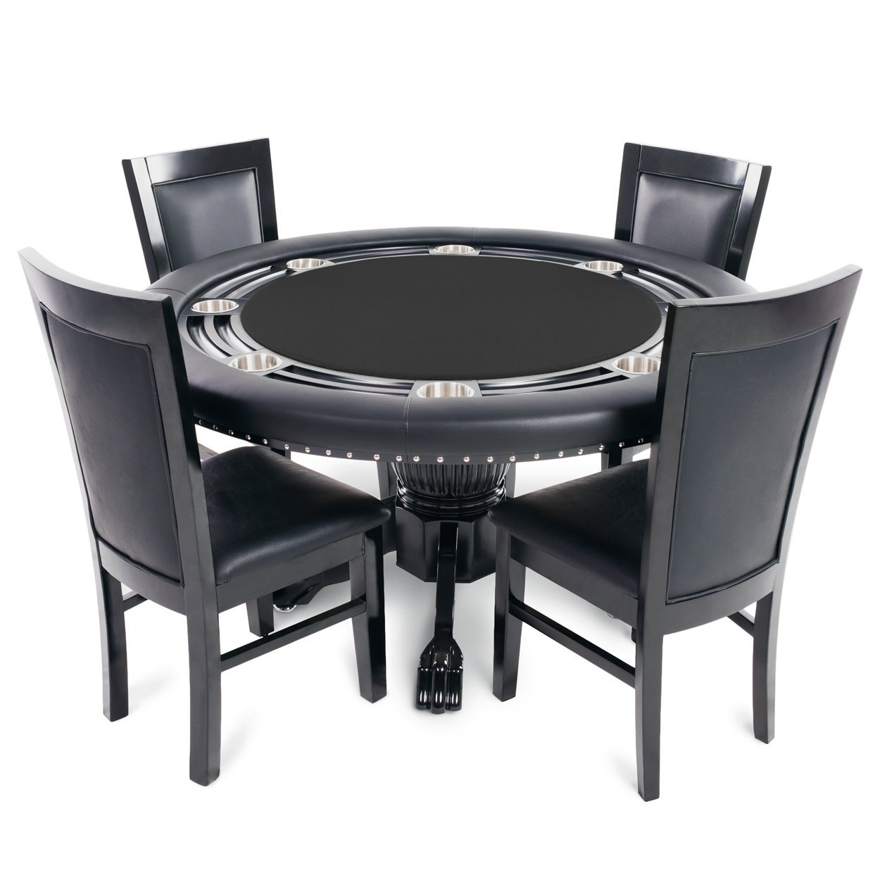 BBO Poker Nighthawk Poker Table for 8 Players with Black Speed Cloth Playing Surface, 55-Inch Round, Includes 4 Dining Chairs