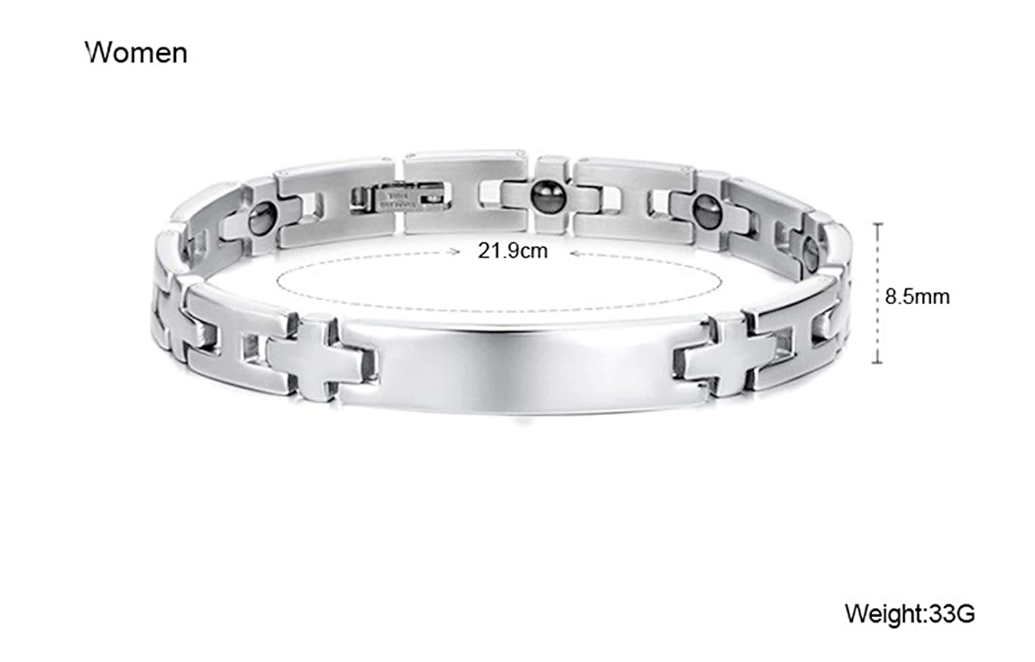 Gnzoe His and Her Stainless Steel Bracelet Bangle Bracelet Rectangle Tag Cross Magnetic