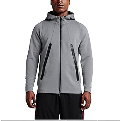 Mens Nike Air Jordan Lite Fleece Full Zip Cool Grey/Black Basketball Hoodie