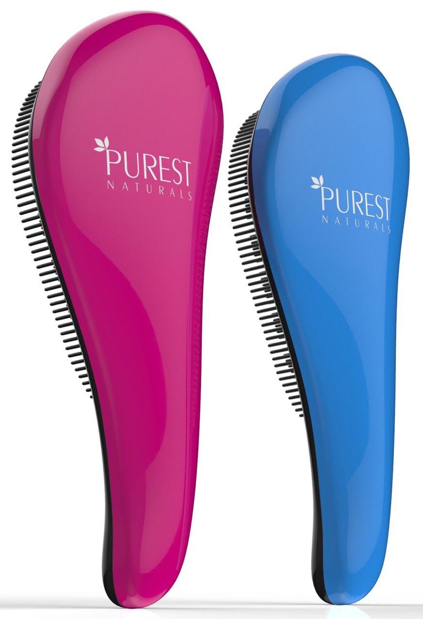 Purest Naturals Original Detangling Hair Brush Set - Best Detangler Wet Shower Comb For Women, Men, Girls & Boys - Detangles Knots Easily (Blue & Pink)