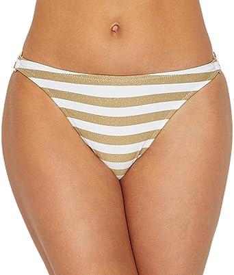 fac9a3f7bd3eb Miss Mandalay Women s Blondelle Ring Side Hipster Bottom Gold White Stripe  XS