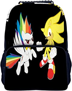 Kids Backpack, Super Sonic Hedgehog Rainbow Dash Black, Unisex School Bookbags, Cute Cartoon Laptop Bag, waterproof Casual Travel Hiking Camping daypack for Boys Girls Teens, 16 inches