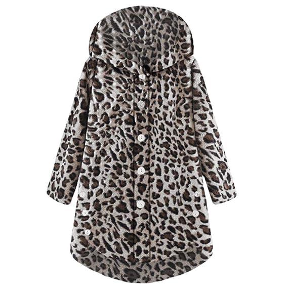 Abrigo Mujer Leopardo Elegantes K-Youth ✿ Chaquetas Mujer Invierno Rebajas Sudaderas Mujer Capucha Tallas Grandes Abrigos de Mujer en Oferta Outwear Parka ...