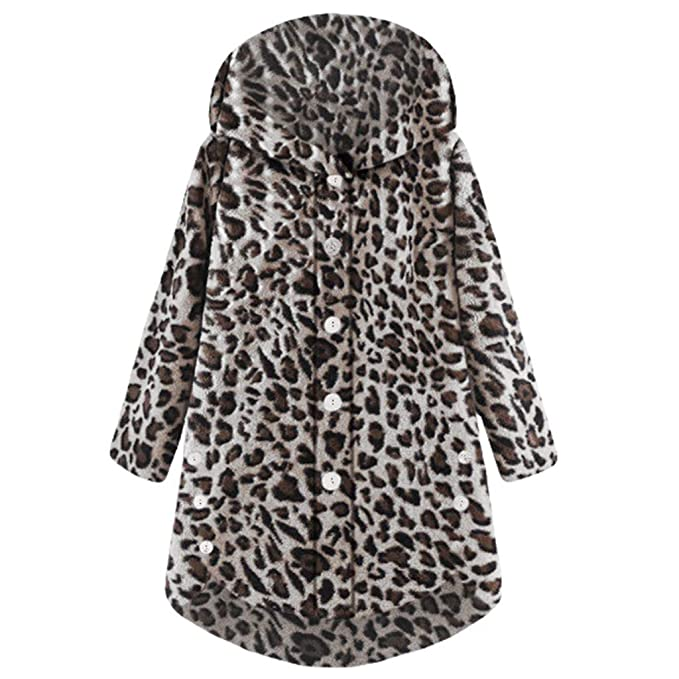 Amazon.com: Outwear, Women Button Leopard Coat Fluffy Tail ...