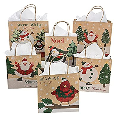 Fun Express 12 Paper Christmas Craft Bag Assortment