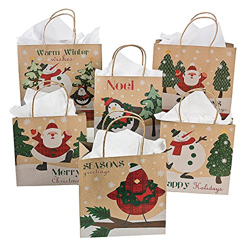 One Dozen Paper Christmas Craft Bag Assortment/CHRISTMAS/HOLIDAY wrap by Fun Express by Fun Express
