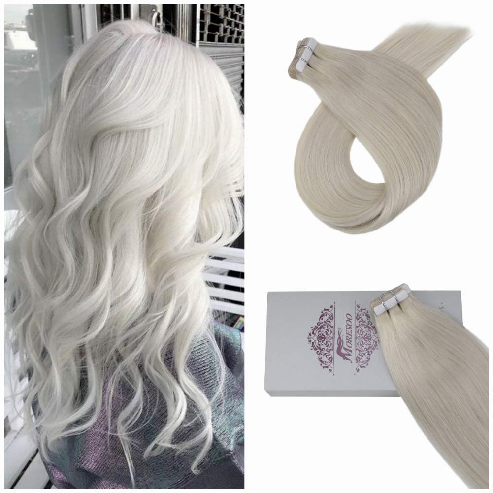 Moresoo 20 Inch Skin Weft Hair Extensions Soft Unprocessed Human Hair Blonde #60A 50 Grams 20 Pieces Per Pack Thick Tape on Extension Adhesive Real Human Hair by Moresoo