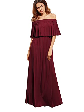Milumia Women s Off The Shoulder Layered Ruffle Party Maxi Dress at ... 3ad0161106