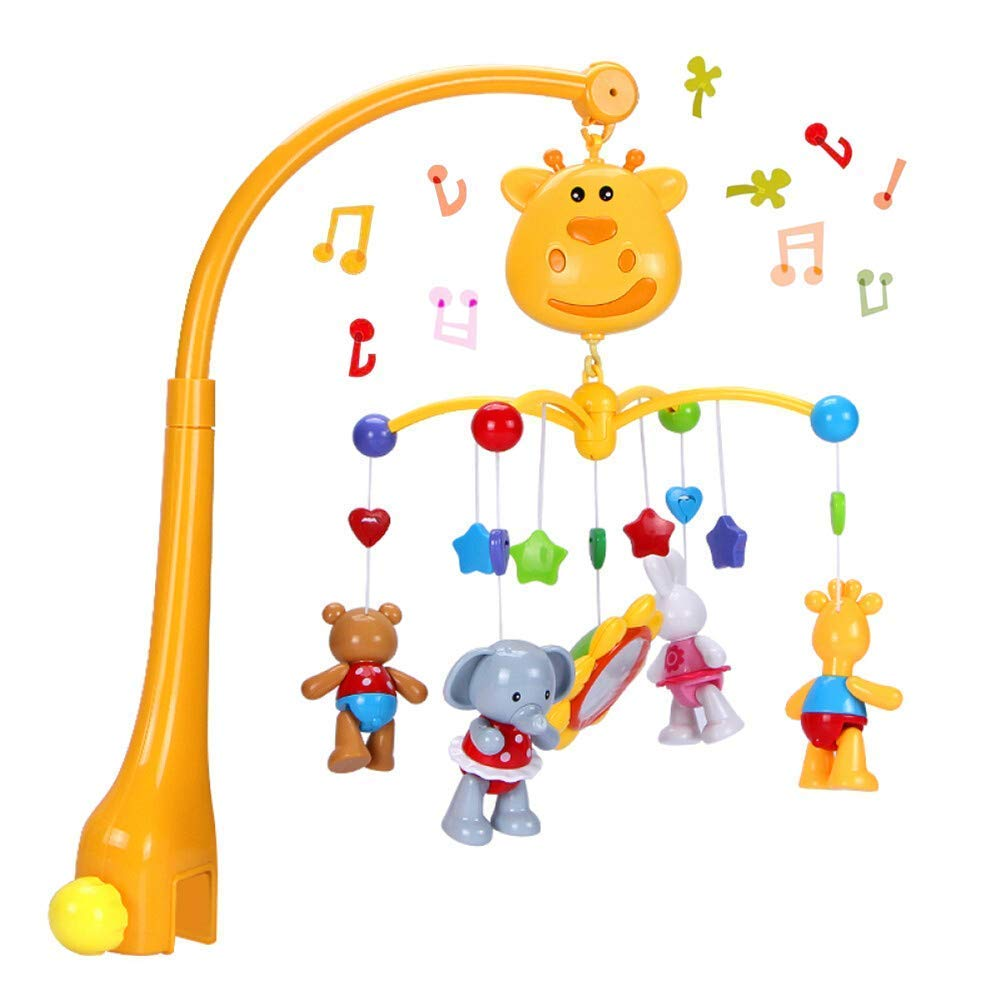 Musical Crib Mobile Baby Toys - Infant Rattles Nursery Bed Bell Toys with Hanging Rotating Cute Animals and Timing Shutdown Function Style-Carry
