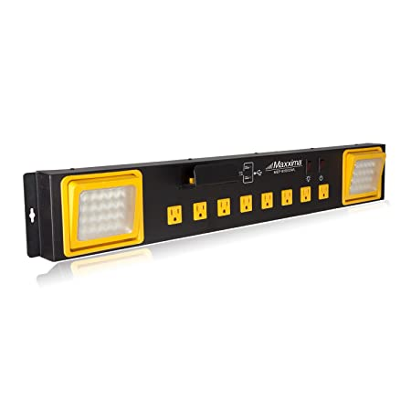 Maxxima 8 Outlet Workshop Heavy Duty Power Station with 2 Port USB and LED Worklight, 1000 Lumens 6000K