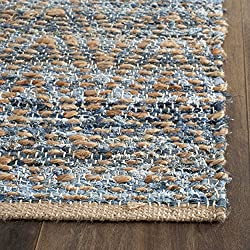 Safavieh Cape Cod Collection CAP350A Hand Woven Flatweave Chevron Natural and Blue Jute Area Rug (2' x 3')