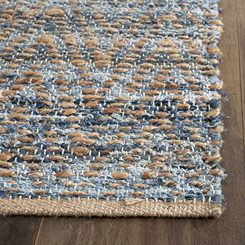 61MGnTCWfbL - Safavieh Cape Cod Collection CAP350A Hand Woven Natural and Blue Cotton Area Rug, 10 feet by 14 feet (10' x 14')