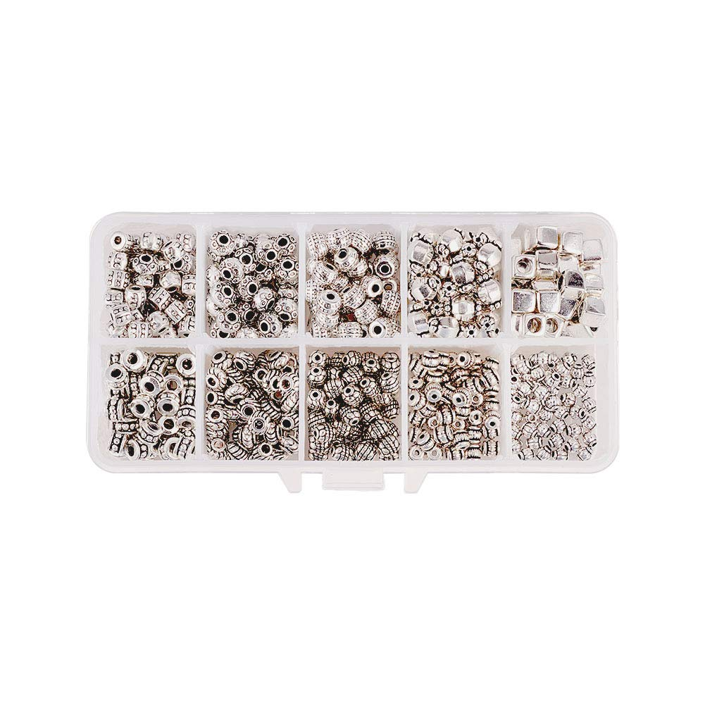 PH PandaHall 500pcs 10 Styles Spacer Beads Tibetan Alloy Antique Silver Metal Bead Spacers for Bracelet Necklace Jewelry Making Accessories(Hole Size: 1~3.5mm) by PH PandaHall