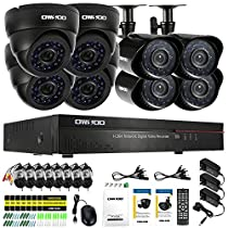 OWSOO 16CH CIF 800TVL CCTV Surveillance DVR Security System HDMI P2P Cloud Network Digital Video Recorder + 4Indoor Dome Camera + 4Outdoor Weatherproof Bullet Camera + 860ft Cable support IR-CUT