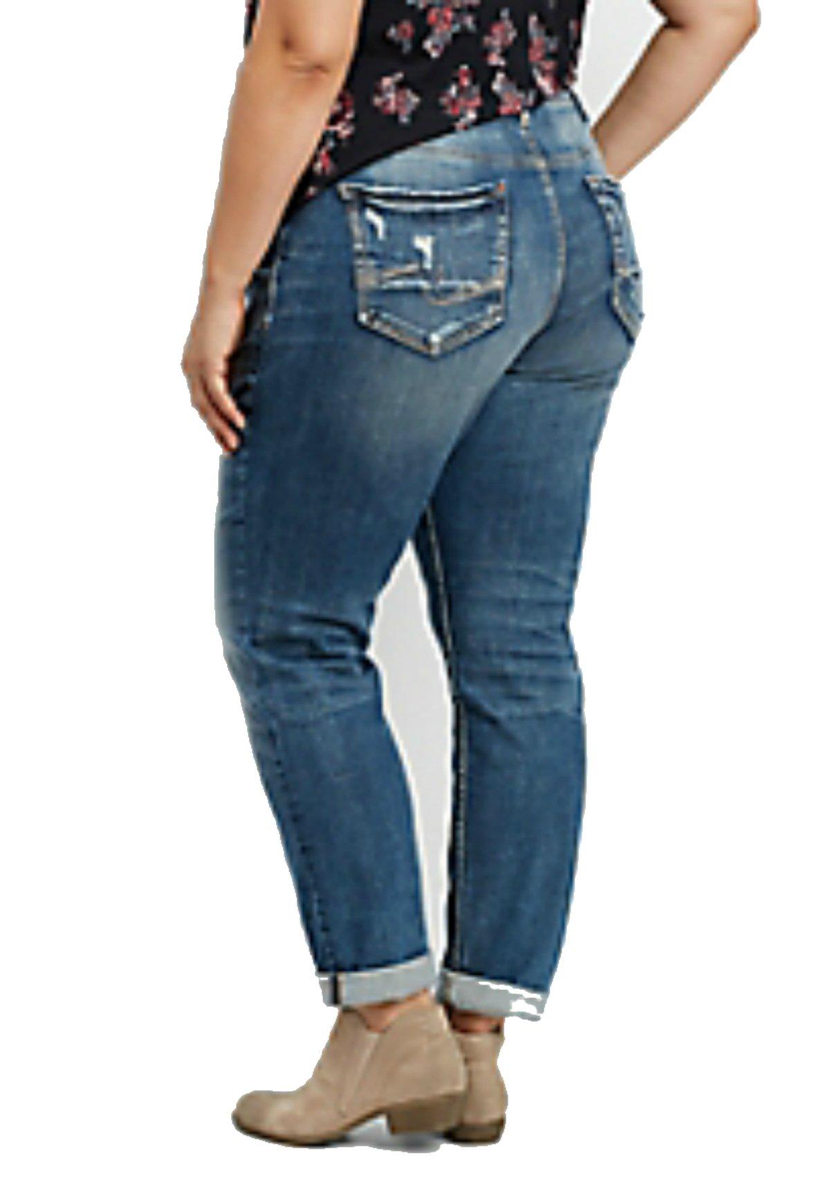 Silver Jeans CO. Women's Plus Size Sam Mid Rise Boyfriend Jeans, Medium Repair Stitch, 20